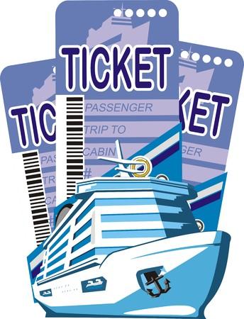 schip op een tickets achtergrond Stock Illustratie