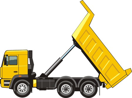 building dump truck for loose material Vector