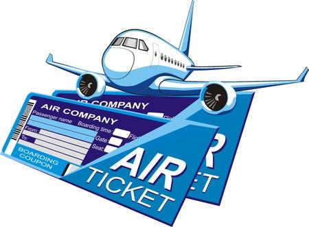 Passagiersvliegtuig silhouet op een twee boarding coupons achtergrond Stock Illustratie