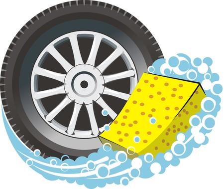 whhel coche con esponja de lavado Ilustración de vector