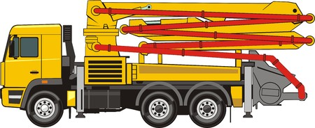 Concrete pump on the truck chassis