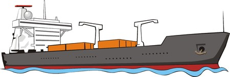 sea seaport: cargo ship with containers