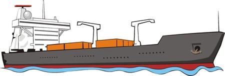 vrachtschip met containers Stock Illustratie