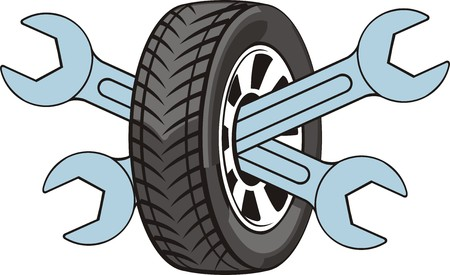 teken van de reparatie van auto wielen