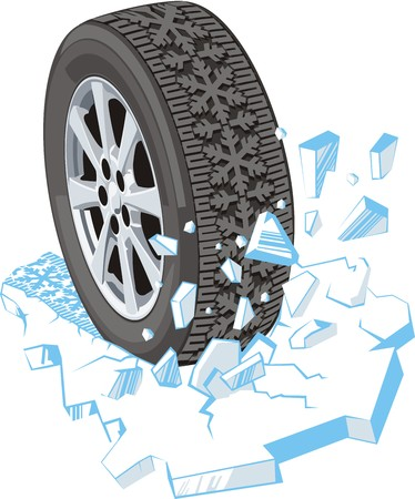 snow drifts: winter car tire ride on the ice