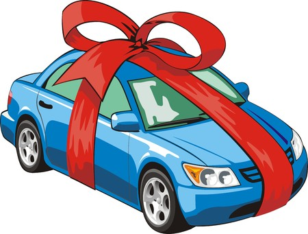 car tied with a red ribbon for gift Vector