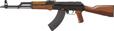 Kalashnikov gemoderniseerd assault rifle AKM Stock Illustratie