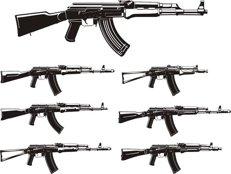 assault rifle: assault rifle different generation silhouettes set Illustration