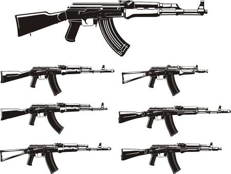 ak 74: assault rifle different generation silhouettes set Illustration