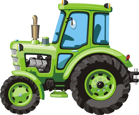 yellow tractor: green cartoon  tractor for agricultural works