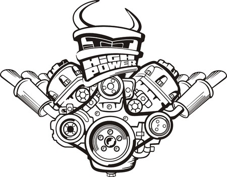 drawing high power car engine sign Illustration