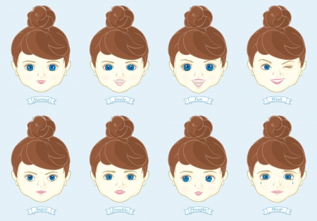 chubby girl: illustration of doll faces Illustration