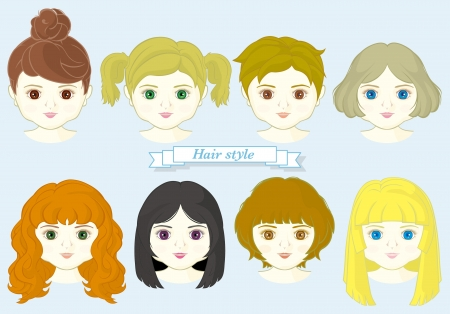 set of girl face with fashionable hairstyle Stock Vector - 20471509
