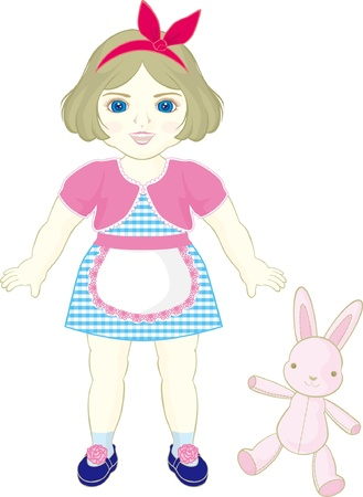chubby: apron doll with rabbit Illustration