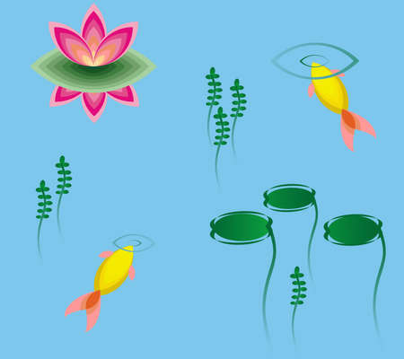garden pond: Gold small fishes and lotos Illustration