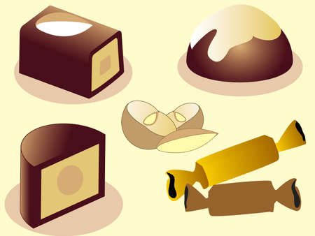 Chocolate sweets and nuts Illustration