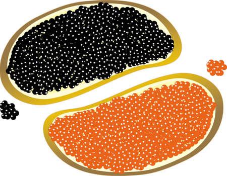 pan con mantequilla: Dos pedazos de pan con mantequilla y con el rojo y el negro caviar