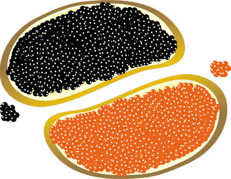 Two pieces of bread with butter and with red and black caviar Illustration
