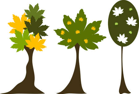 3 Vector trees with leafs Illustration