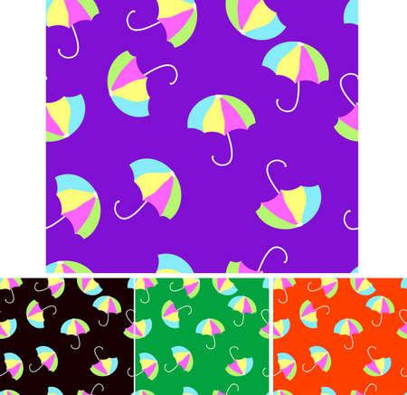 Seamless Coloured Umbrellas Vector