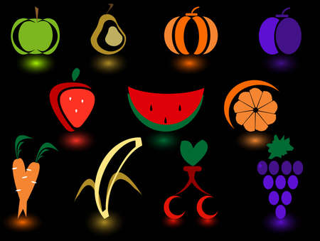 11 set of logos Fruit and Vegetables Stock Vector - 3197340