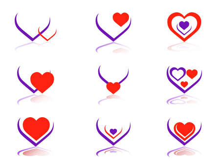 Vector illustration-9 Vector heart icons