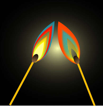 Two matches burn Vector