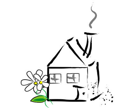small house with flowers Stock Vector - 3276050
