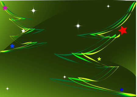 Christmas tree standing in the forest. shining moon and stars Stock Vector - 3913878