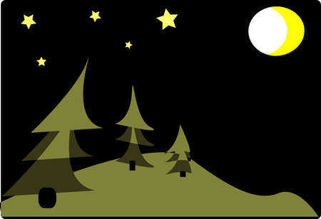 Christmas tree standing in the forest. shining moon and stars Stock Vector - 3913874