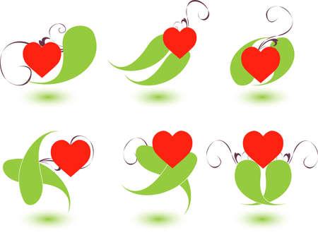 infatuation: Vector illustration-six  Vector heart icons