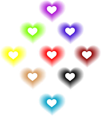 Nine of hearts of different colors for each design Illustration