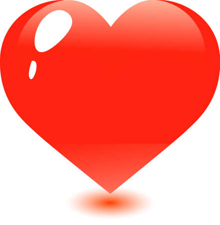 one large red heart on the day of St. Valentine