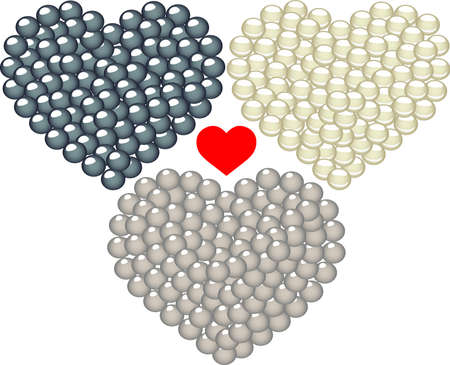 infatuation: Three of hearts decorated in pearls
