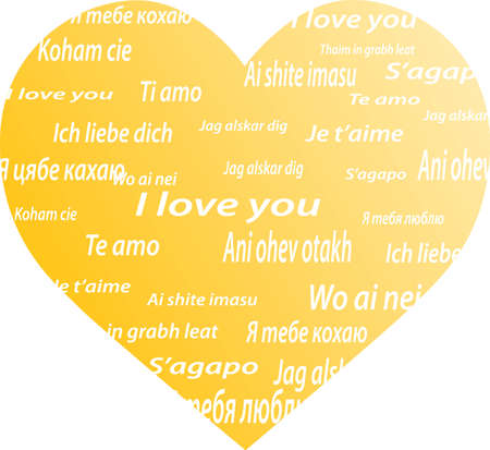 heart with the words I love you in different languages Vector