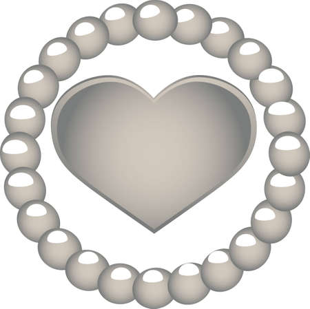 vector illustration - heart in terms of pearl Vector