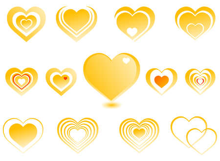 large collection of hearts, a gold-colored
