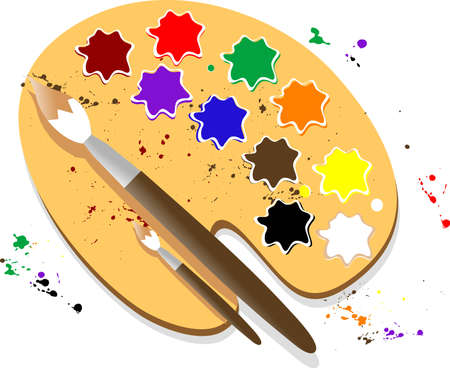 A palette of paints the artist Stock Vector - 4363236