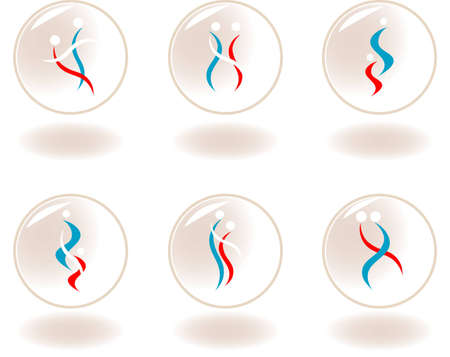 sport logo: 6 people on the theme of dance Illustration