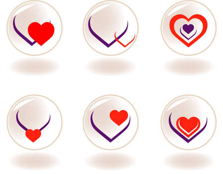Vector illustration-6 Vector heart icons Illustration