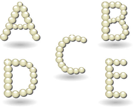 pearls letters and numbers and signs on white background