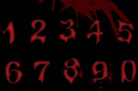 Figures numbers Gothic Illustration