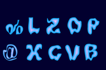 Alphabet and numbers . Figures Gothic