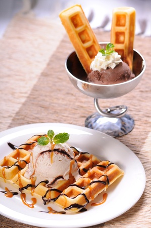 Gelato ice-cream served with square waffle photo