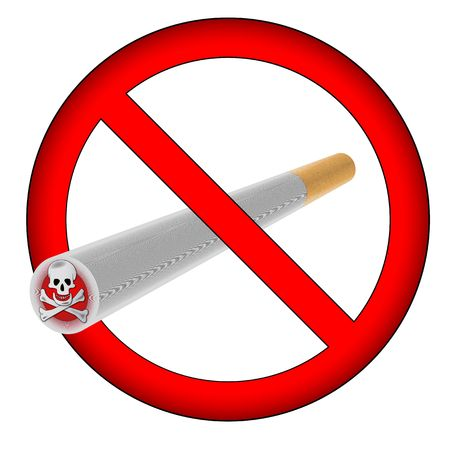 unlawful: no smoking sign with large skull and bones on the cigar