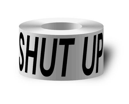 tacky: sticky tape with shut up