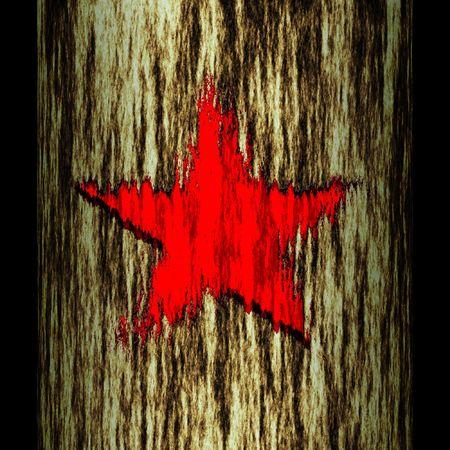partisan: illustration: tree trunk: star Stock Photo