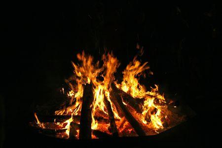 burning log wood with black background photo