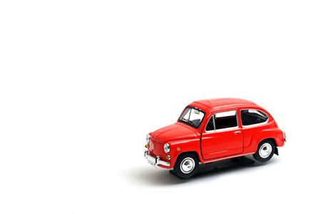 small model red car on white background Stock Photo