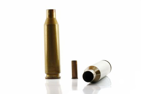 casings: three used bullet casings isolated on white
